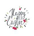 Happy Easter greeting card with flowers vector image vector image