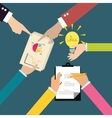 business exchange ideas brainstorm hands on table vector image