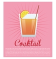 cocktail orange segment pink background vector image