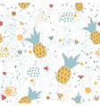 hand drawn seamless pattern with pineapples and vector image