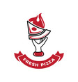 hand held fresh pizza with fire logo vector image