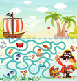 Maze game Pirate try to find the treasure vector image
