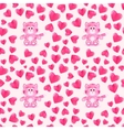 seamless pattern with cat and hearts vector image vector image