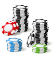 Stacks of gambling chips with leaning and pile vector image vector image