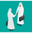 Two arab businessmen in national white garments vector image