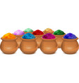 Ceramic pot of paint holi Festival of colors Holi vector image