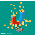 Money magnet investments attracting concept vector image