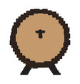 pixelated wooden beer barrel vector image