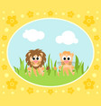 safari background card with lions vector image