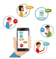 Teen friends chat on phone friendly vector image vector image