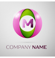 Letter M logo symbol in the colorful circle on vector image