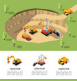 colorful isometric coal extraction composition vector image vector image