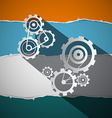 Cogs - Gears - Wheals on Torn Paper vector image
