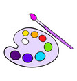 art palette with paint brush icon cartoon vector image