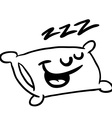 Black and white sleepy pillow vector image