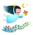 Happy winter holidays smiling angel girl holding vector image