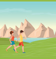 man and woman jogging vector image