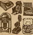old objects no3 - hand drawn collection vector image