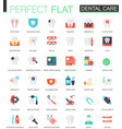 set of flat dental care icons vector image