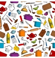 Kitchen tools and utensils seamless pattern vector image vector image