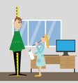 measure the height of the patient vector image