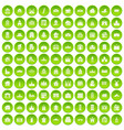 100 building icons set green vector image