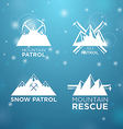 logotype ski mounrain and snow patrol with vector image vector image