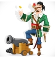 Cute pirate with monkey throw up golden coin stand vector image