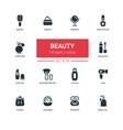 fashion concept beauty - line design icons set vector image