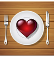 fork with knife and red heart shape on plate vector image