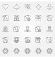 Poker line icons set vector image
