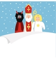 St Nicholas with devilangel and blank paper vector image