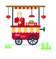 street food trailer with vendor selling hot vector image