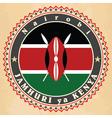 Vintage label cards of Kenya flag vector image