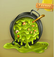 Witch Kitchen Pot with a potion Halloween 3d icon vector image vector image