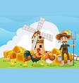 farmer and windmill on the farm vector image