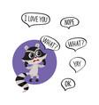 little raccoon character unpleasantly surprised vector image