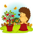 hedgehog watering a tree with apples vector image