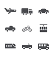 modes of transport icons set vector image