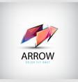 3d colorful shiny crystal arrow logo icon vector image
