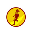 Female Marathon Runner Circle Retro vector image