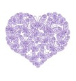 Heart of purple butterflies on white background vector image