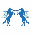 blue horse wings logo icon vector image