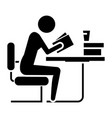 man studing - reading book in library icon vector image