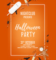 Orange halloween party poster with treats vector image