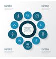 people outline icons set collection of running vector image