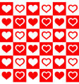 Seamless red white hearts vector image