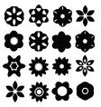 set of cartoon floral silhouettes isolated on vector image