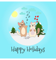 Singing cats and mouse Happy holidays vector image