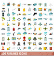 100 airlines icons set flat style vector image